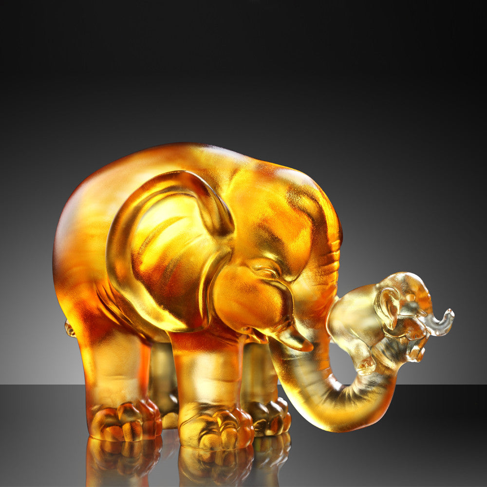 Crystal Animal, Elephant, A Push Forward the Fortune - LIULI Crystal Art
