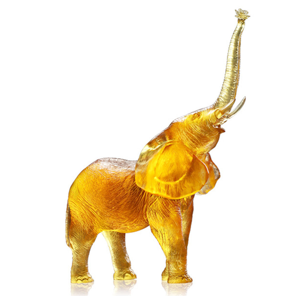 Courage to Catch Dream - Elephant Figurine (Ambition) - LIULI Crystal Art - Light Amber.