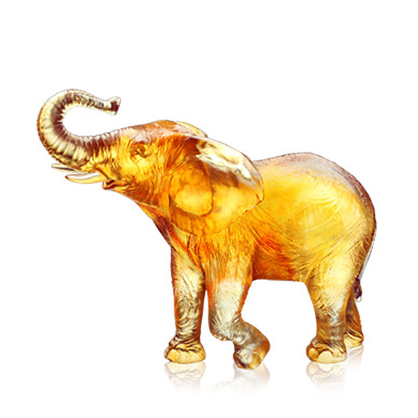 Auspicious Mornings - Elephant Figurine (Joyful Life) - LIULI Crystal Art | Collectible Glass Art