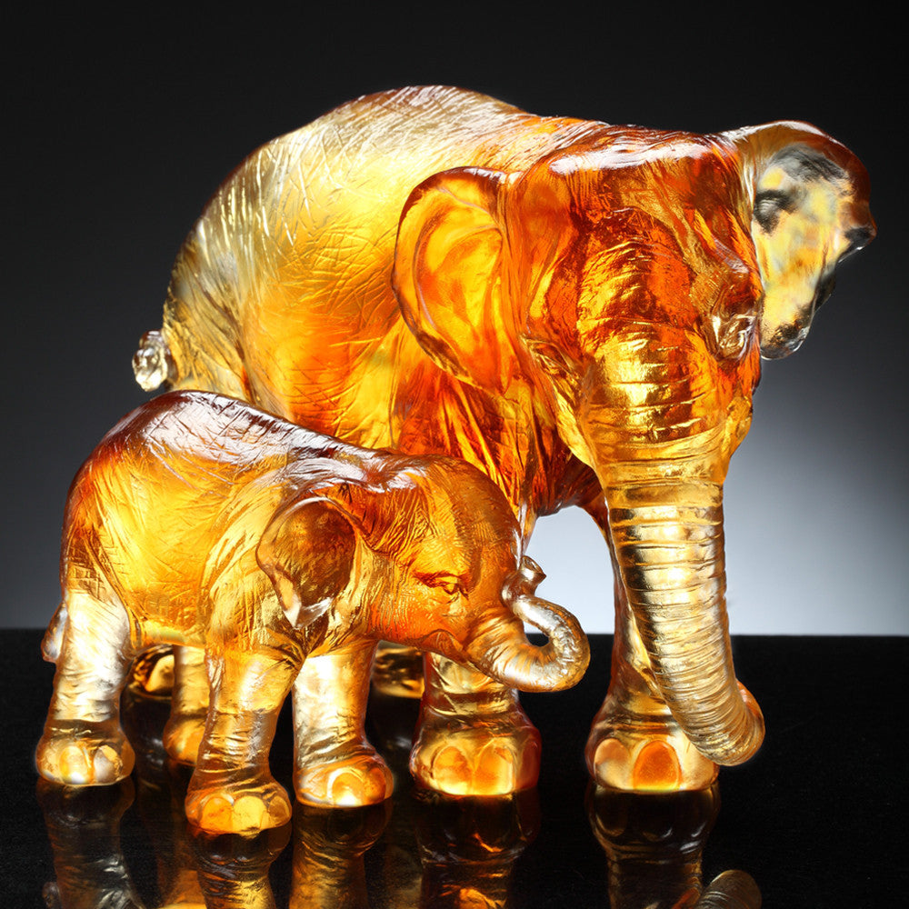 Crystal Animal, Elephant, At That Time (Set of 2) - LIULI Crystal Art