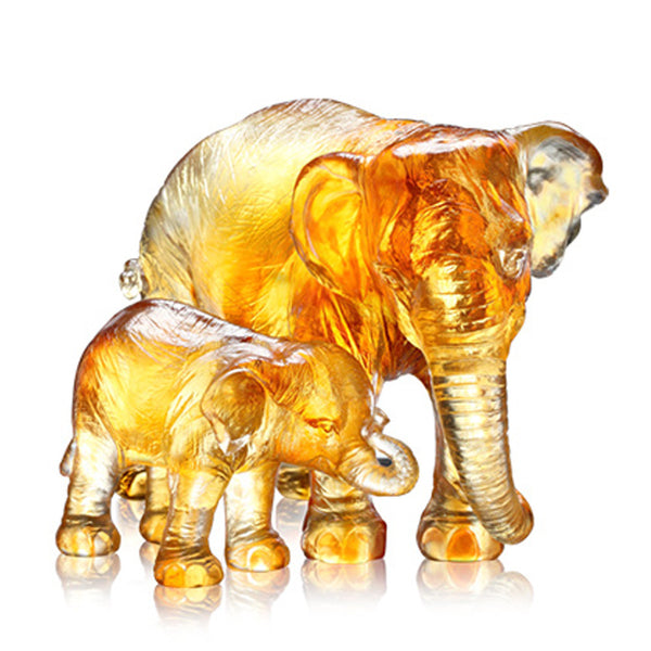 At That Time (The Love of Mother) - Elephant Figurines (Set of 2) - LIULI Crystal Art | Collectible Glass Art