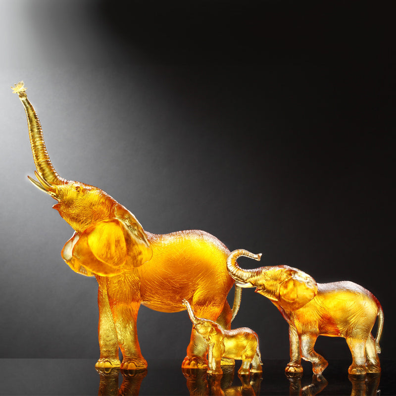 Crystal Animal, Elephant, Golden Life Power (Set of 3) - LIULI Crystal Art