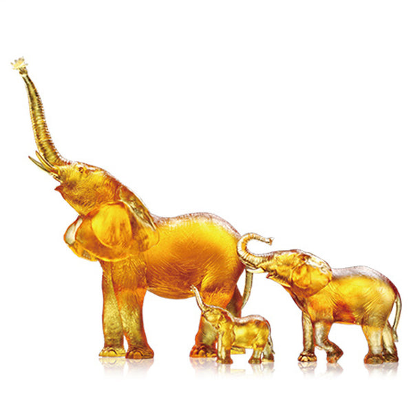 Golden Life Power (Golden Hope) - Elephant Figurines (Set of 3) - LIULI Crystal Art | Collectible Glass Art