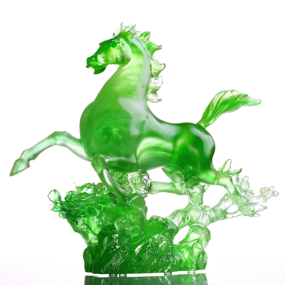 Crystal Animal, Horse, Dancing In The Spring Breeze - LIULI Crystal Art