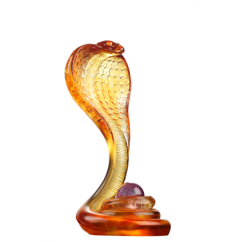 Crystal Snake Figurine, Cobra Snake, Within Grasp, a Spiritual Gem - LIULI Crystal Art