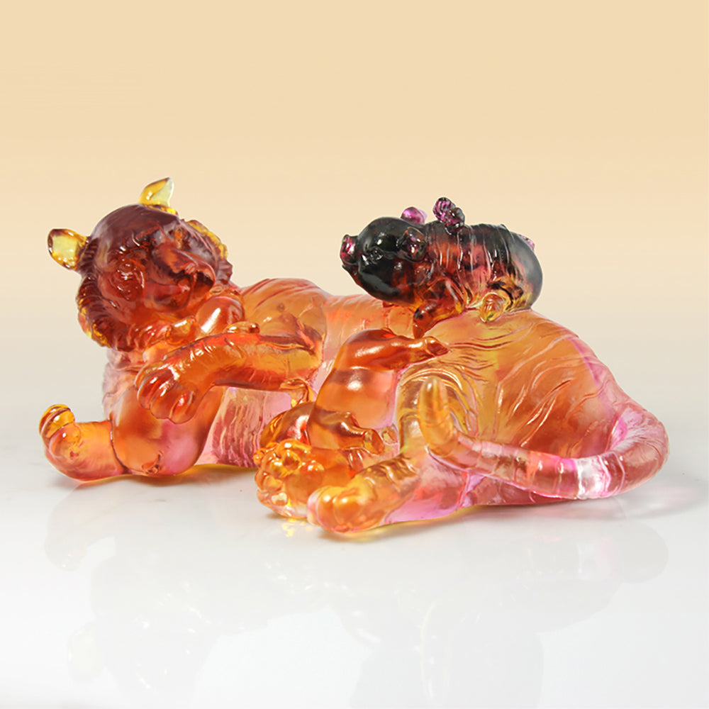 Crystal Animal, Tiger and Pig, Love Unbound - LIULI Crystal Art