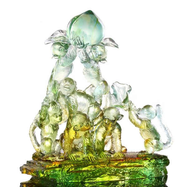 Monkey Figurine (Longevity) - Together, Up To The Sky - LIULI Crystal Art | Collectible Glass Art