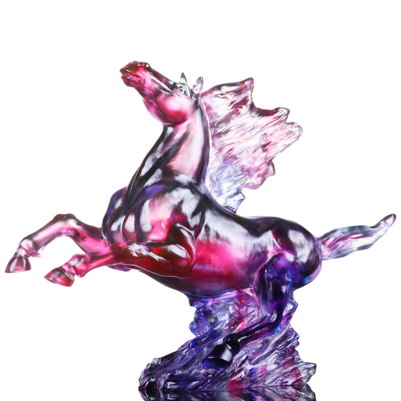 Crystal Animal, Horse, Galloping in the Storm - LIULI Crystal Art