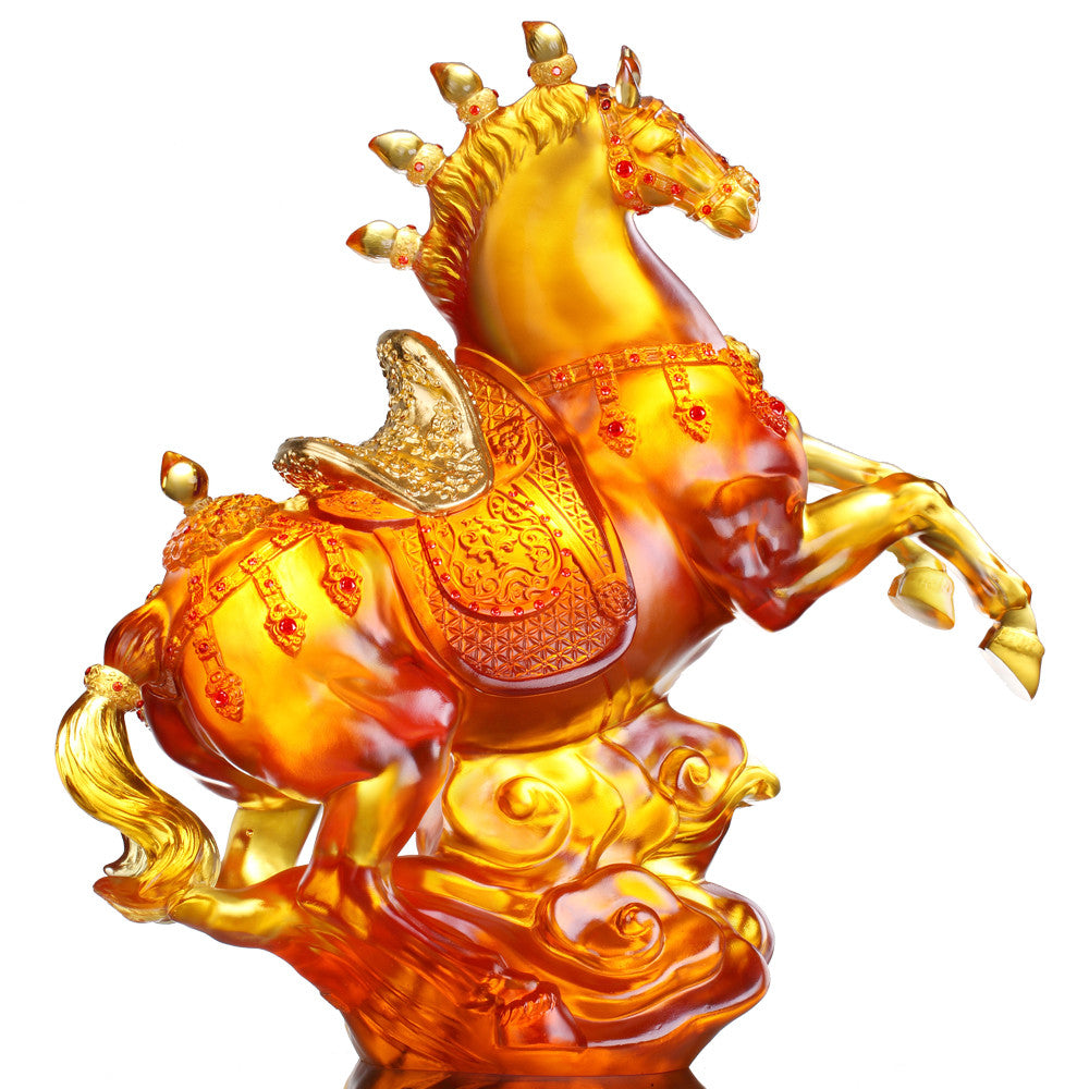 Boundless Grandeur (Victory) - Crystal Horse Sculpture - LIULI Crystal Art