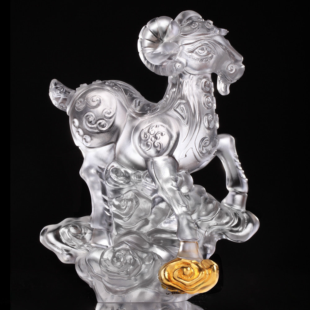 "Crystal Sheep Figurine (Favorable) - ""Traipsing Across Clouds"" (Gold Leaf Edition) - LIULI Crystal Art"