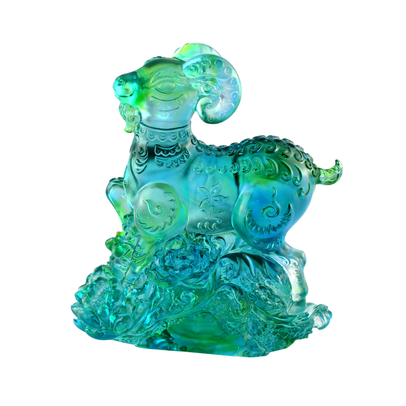 Crystal Animal, Zodiac, Ram, Sheep, Goat, Auspicious Flowers - LIULI Crystal Art