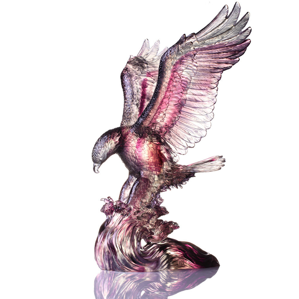 With A Will, A Way (Insistence), American Bald Eagle Figurine - LIULI Crystal Art - Brown / Purple / Clear.