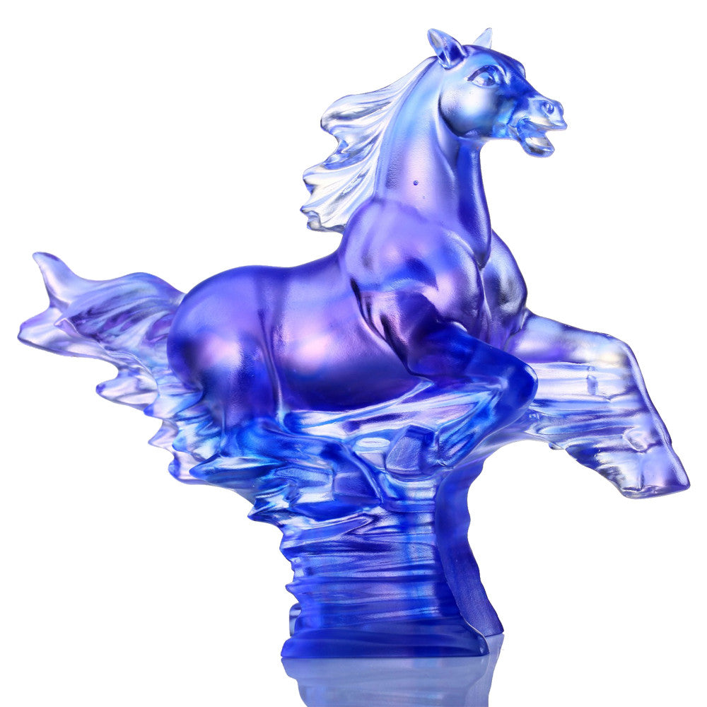 The Leader (Leadership) - Horse Figurine - LIULI Crystal Art - Royal Purple Clear.