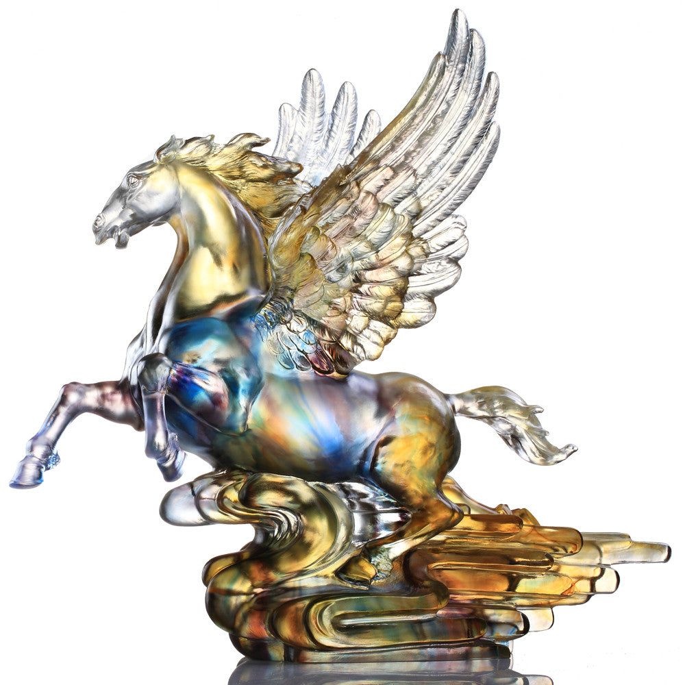 Rise (Breakthrough) - Flying Horse, Pegasus Figurine - LIULI Crystal Art - Amber / Purple.
