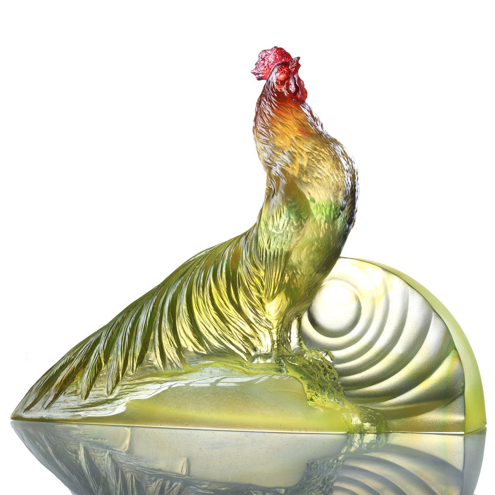 Welcome the Sunrise (Motivation) - Rooster Figurine - LIULI Crystal Art