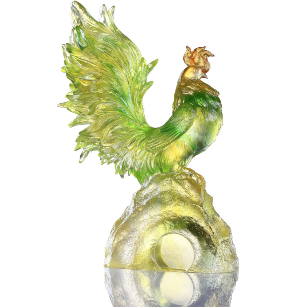 Dance of the Spring Wind (Confident) - Rooster Figurine - LIULI Crystal Art - [variant_title].