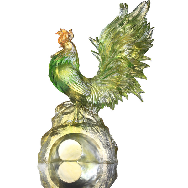 "Rooster Figurine (Confident) - ""Dance of the Spring Wind"" - LIULI Crystal Art 