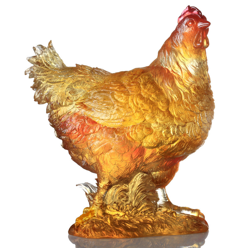 "- Rooster, Hen Figurine (Selfless Love) - ""Love's Fulfillment"" - LIULI Crystal Art"