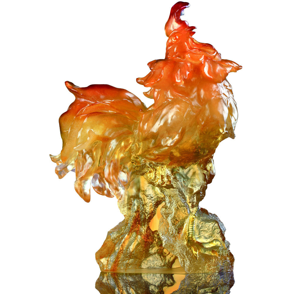 Crystal Animal, Zodiac, Rooster, Divine Sound - LIULI Crystal Art