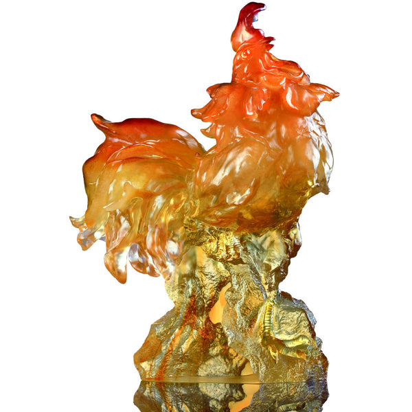 Divine Sound, Rooster Figurine (Courage) - LIULI Crystal Art