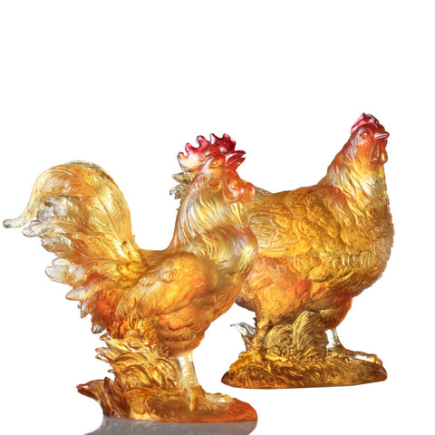 "Rooster Figurine (Love of Parents) - ""Harmonious Home"" (Set of 2)"