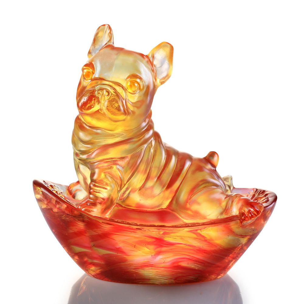 Heads Up! - Dog Figurine (Blessing) - LIULI Crystal Art | Collectible Glass Art