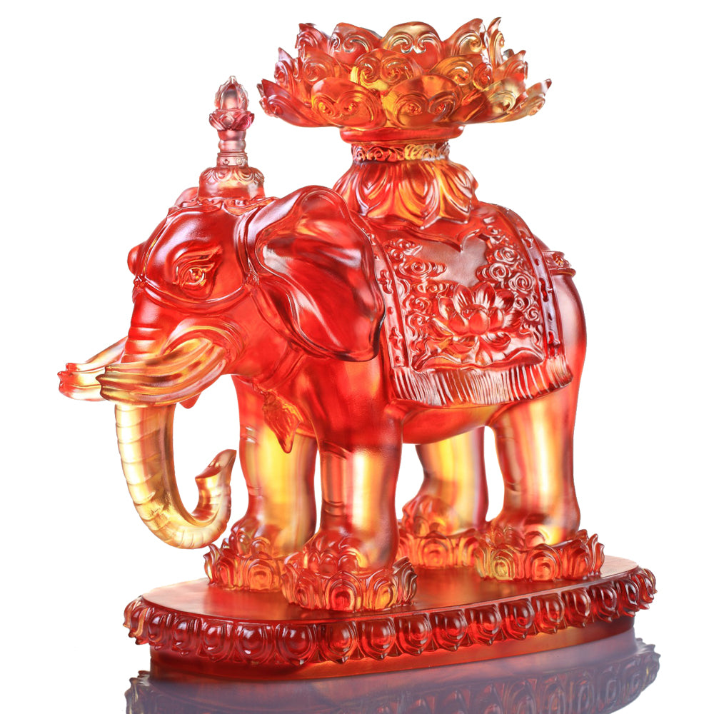 An Auspicious and Pure Existence (Blessings), Good Feng Shui Auspicious Elephant Figurine - LIULI Crystal Art