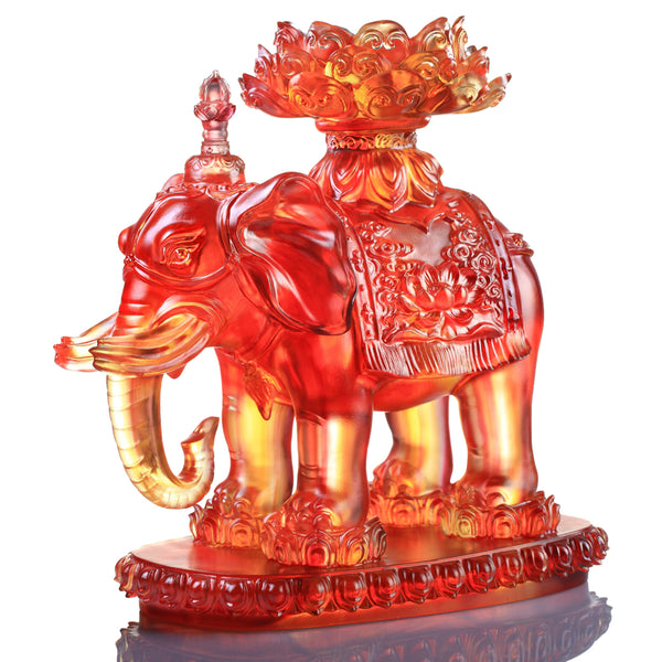 Elephant Figurine (Blessings) - An Auspicious and Pure Existence - LIULI Crystal Art | Collectible Glass Art