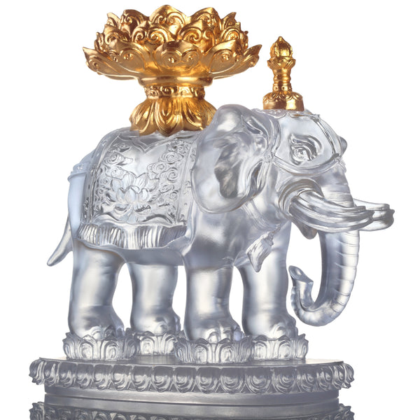 An Auspicious and Pure Existence (Blessings) - Good Feng Shui Auspicious Elephant Figurine (24K Gilded) - LIULI Crystal Art