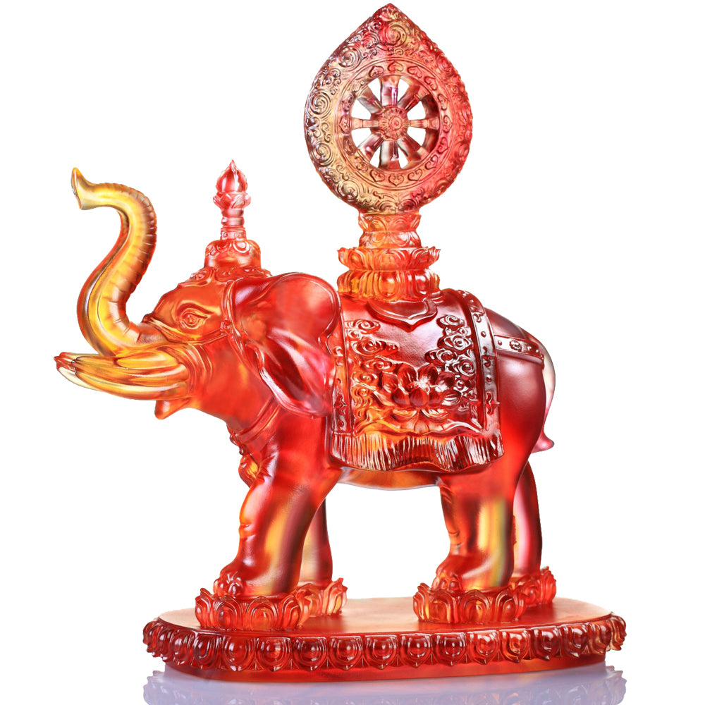 True Dharma Illumination (Blessings), Good Feng Shui Auspicious Elephant Figurine - LIULI Crystal Art - Amber / Gold Red Clear.