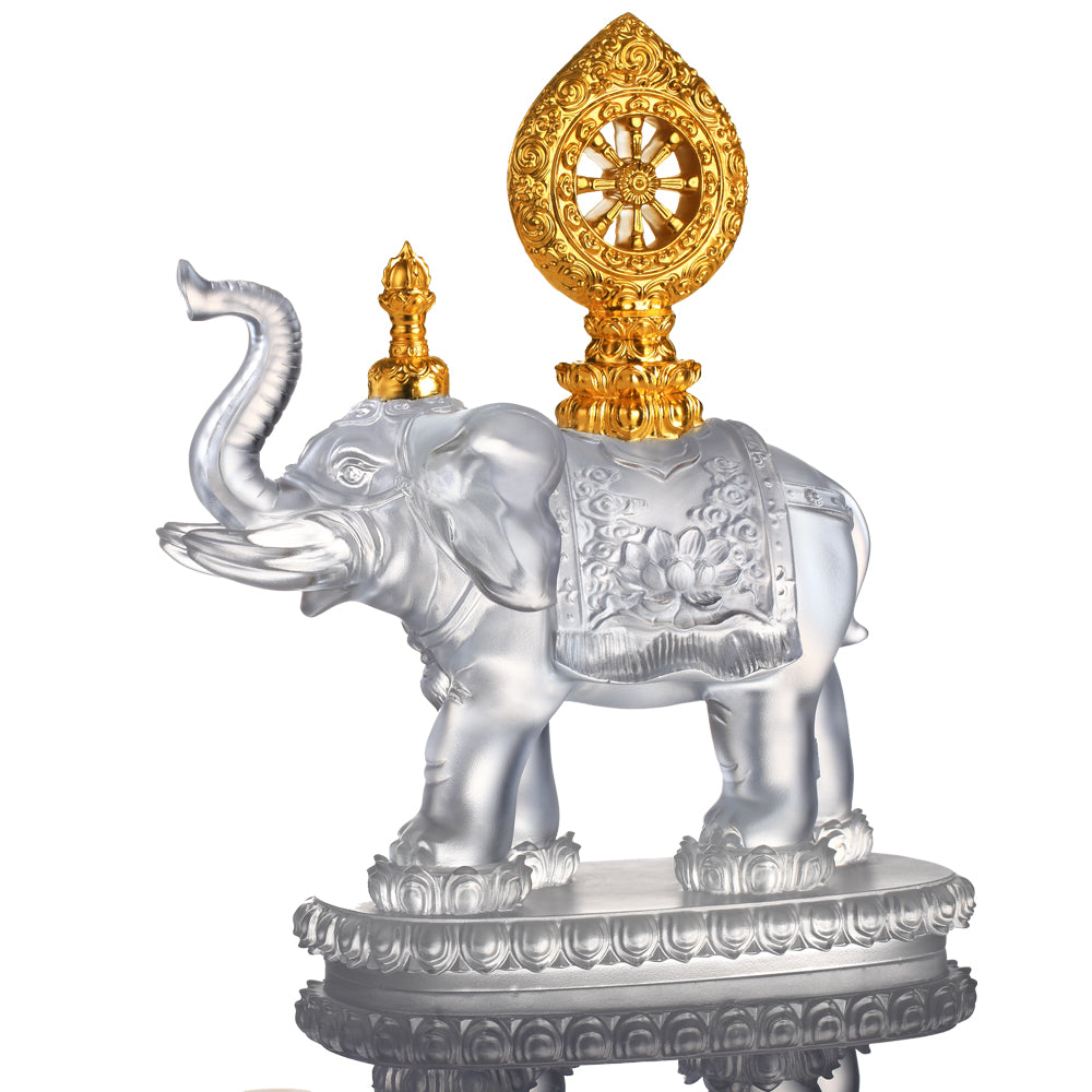 Elephant Figurine (Blessings) - True Dharma Illumination (24K Gilded) - LIULI Crystal Art | Collectible Glass Art