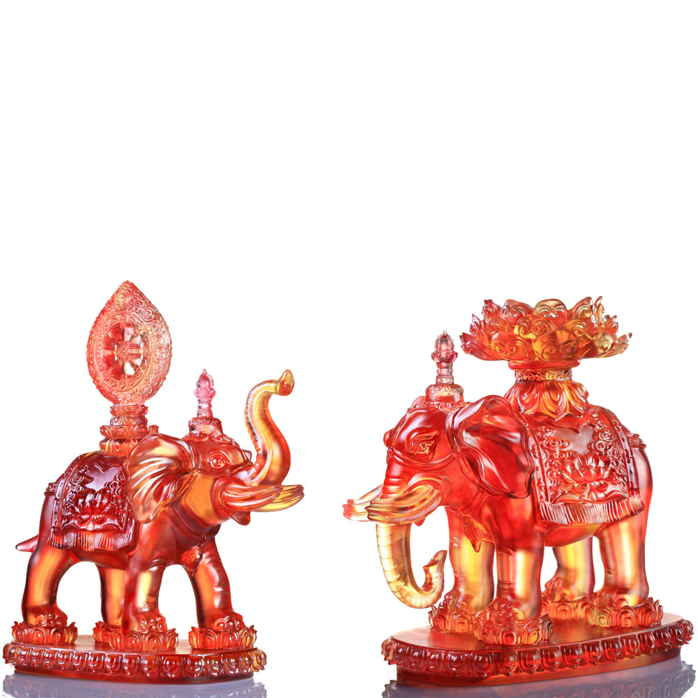Crystal Animal, Elephant, Six Tusked Elephant of Universal Light (Set of 2pcs) - LIULI Crystal Art