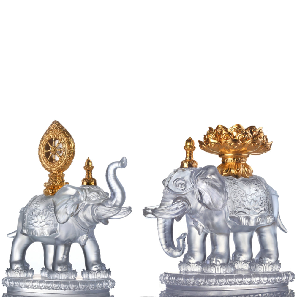 Crystal Animal, Elephant, Six Tusked Elephant of Universal Light, 24K Gilded, Set of 2pcs - LIULI Crystal Art
