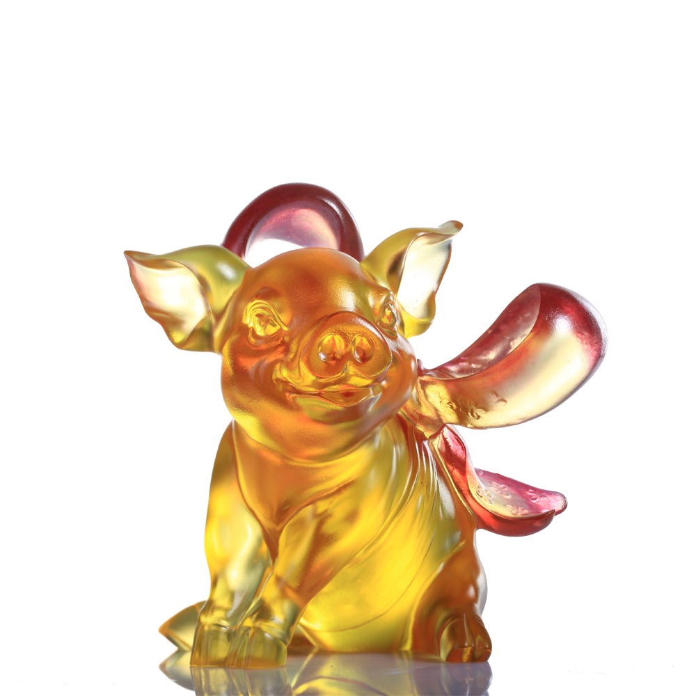 Forever in Happiness (Cherish) - Pig Figurine - LIULI Crystal Art - Amber / Gold Red Clear.