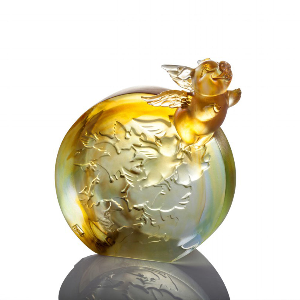 Crystal Animal, Pig, I Too Can Fly High - LIULI Crystal Art - [variant_title].
