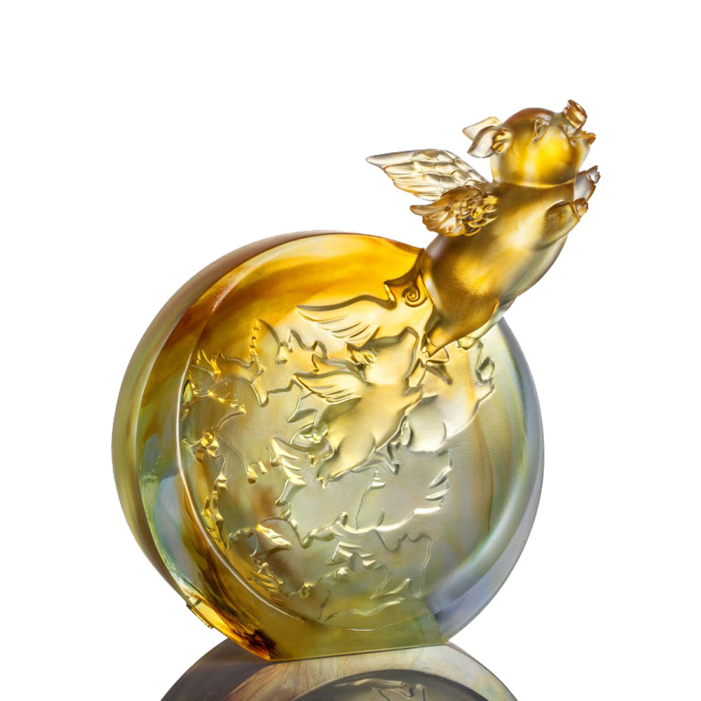 Crystal Animal, Pig, I Too Can Fly High - LIULI Crystal Art