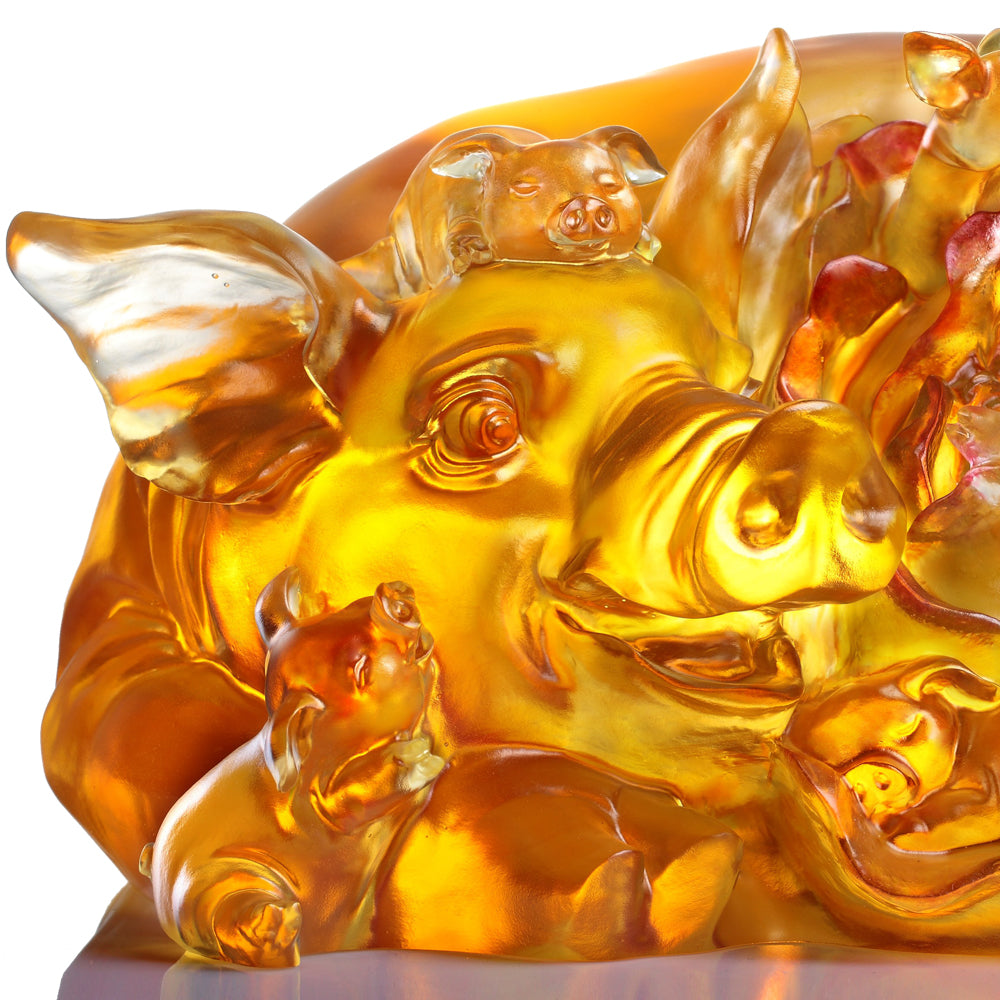 Crystal Animal, Pig, Generational Joy - LIULI Crystal Art