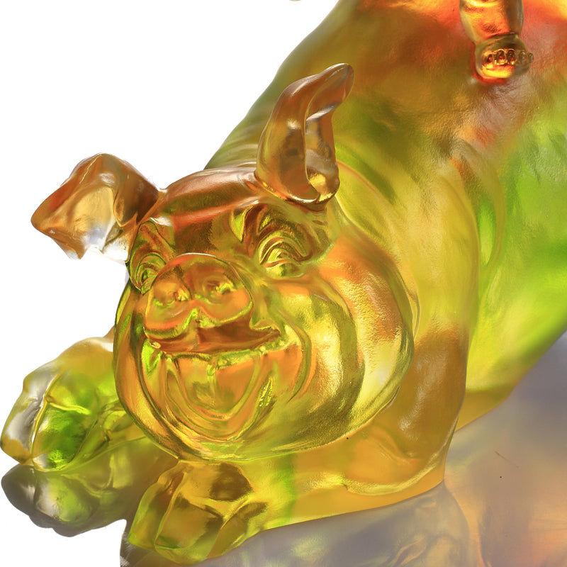 Crystal Animal, Baby Doll Riding Pig, Happy Together - LIULI Crystal Art