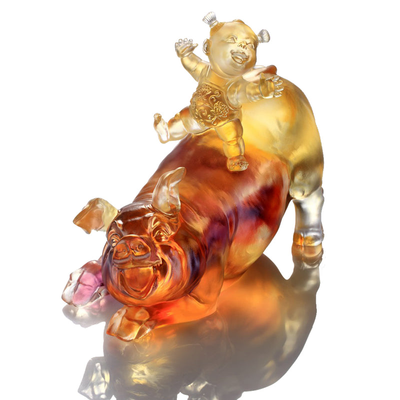 Happy Together (Abundant) - Pig Figurine - LIULI Crystal Art - [variant_title].