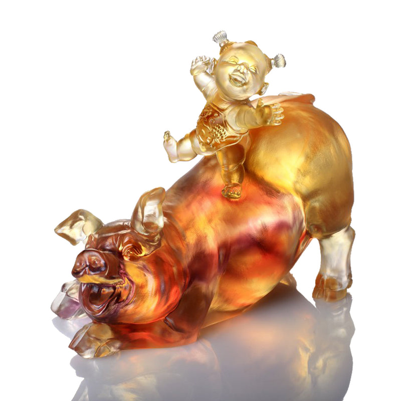Happy Together (Abundant) - Pig Figurine - LIULI Crystal Art - Amber / Purple Clear.