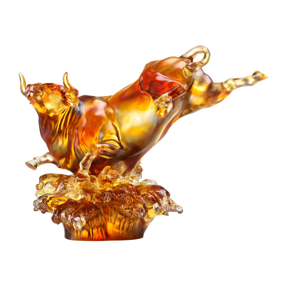 Crystal Animal, Bull, Moving Mountain, Moving Stream - LIULI Crystal Art - Dark Amber / Light Amber.