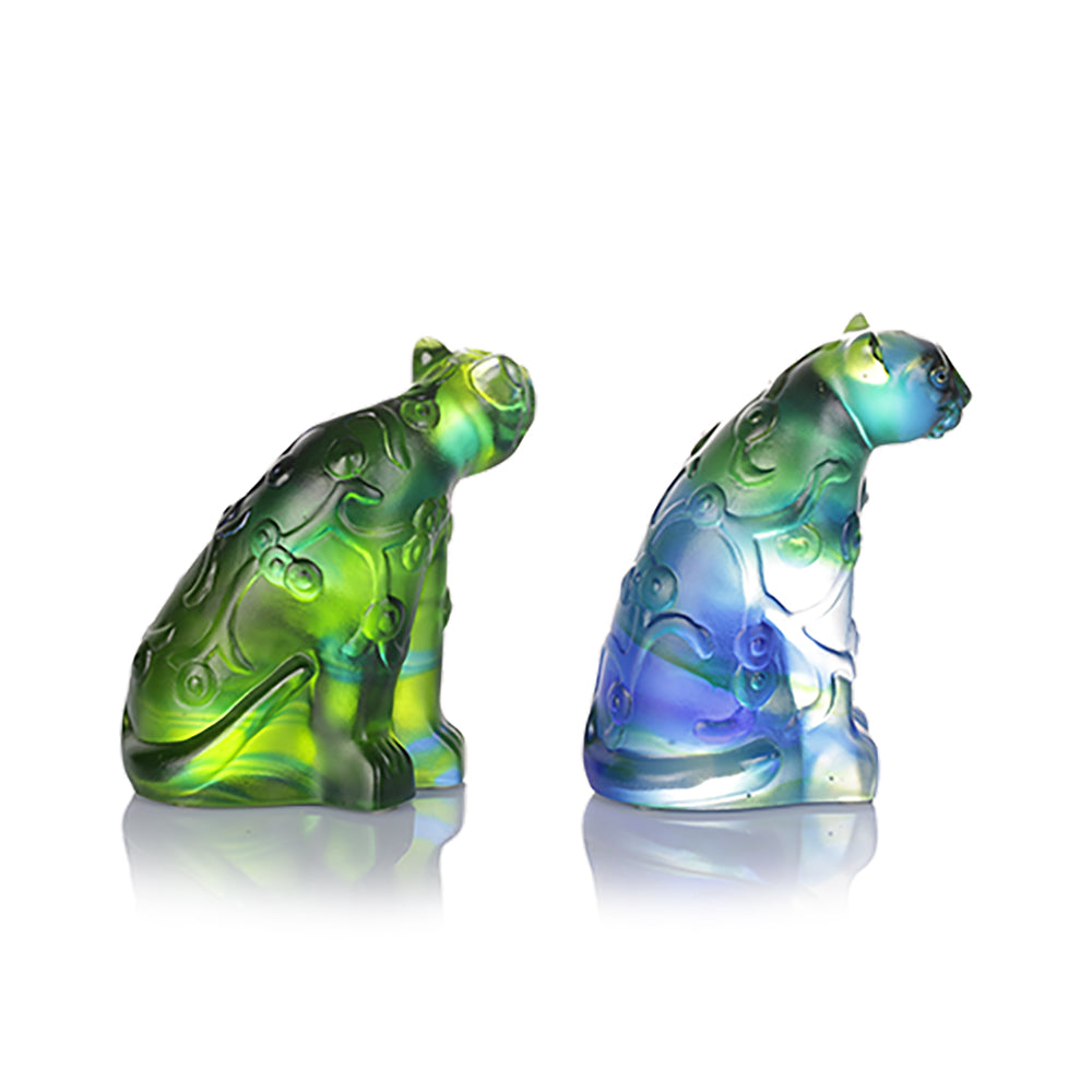 A Pair of Flowered Tiger and Tigress (Zodiac) - Tiger Figurine (Set of 2pcs) - LIULI Crystal Art
