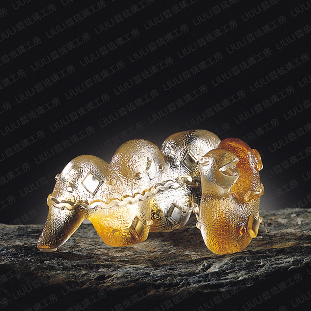 Cloth Baby Snake (Confident) - Crystal Snake Figurine - LIULI Crystal Art