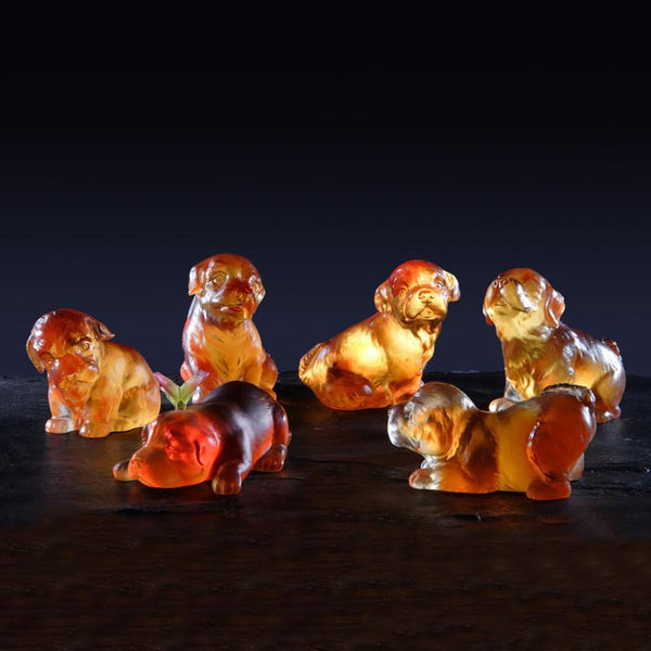 An Excellent Seeing-Guild Dog, Really? - Playful Puppies (We are Family) - LIULI Crystal Art | Collectible Glass Art