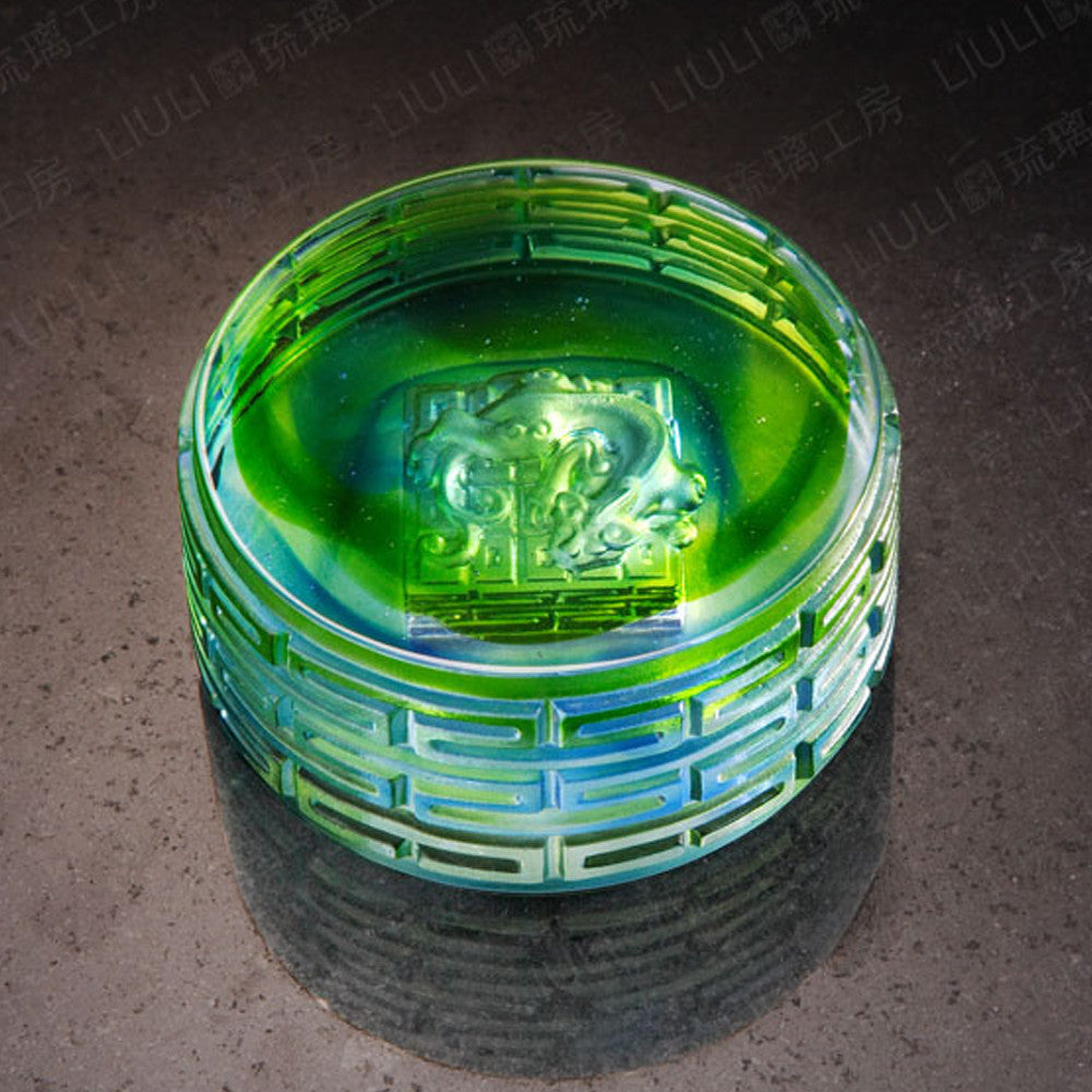 Heavenly Accomplishment (Ambition) - Crystal Paperweight - LIULI Crystal Art - Amber / Bluish Green.