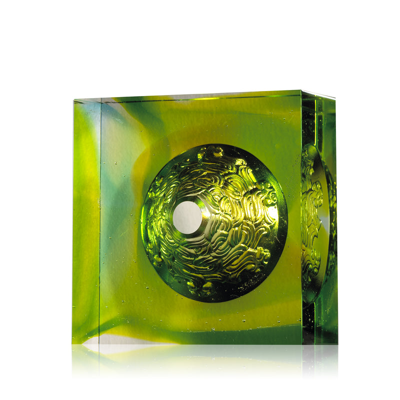 Crystal Paperweight, Everlasting Prosperity - LIULI Crystal Art