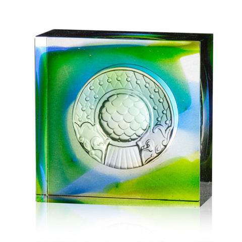 "Crystal Tile Paperweight (Flourish in Harmony) - ""Dragon Fish Protector"""