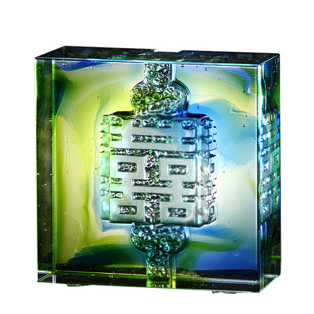 Crystal Paperweight, Double Happiness, Wedding Gift, Knot of Happiness, Mark of Happiness - LIULI Crystal Art
