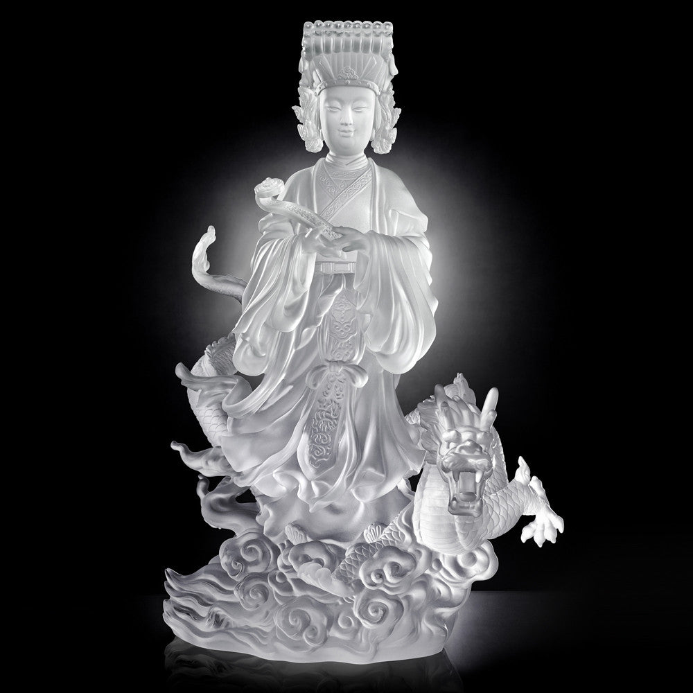 Crystal Buddha, Mazu, Goddess of the Sea, Waves of Benevolent Light - LIULI Crystal Art