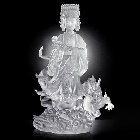 "Crystal Buddha Figurine (Mazu) - ""Goddess of the Sea, Waves of Benevolent Light"""